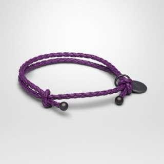 Bottega Veneta薰衣草紫小羊皮編織手環