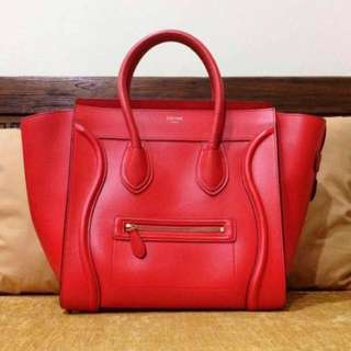 Authentic CELINE Mini Luggage Vermilion (FREE twilly!)