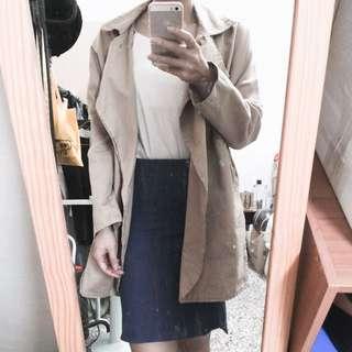 貼身半身裙 S 牛仔藍 風衣外套