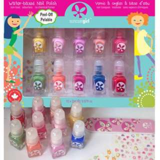 Girls' best gift! Non-toxic Kids-safe Award-Winning Children Friendly Water-Based Peelable Suncoat Girl Nail Polish Kit, Merry Mini/ Flare & Fancy / Party Palette, 10 Pieces