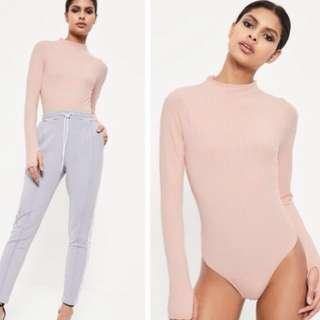 Missguided Pink High Neck Ribbed Bodysuit SIZE 10