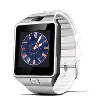 Brand new DZ09 Bluetooth watch (white strap with silver bezel) with micro sim slot