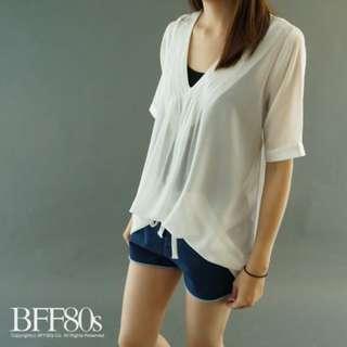轉 BFF80s 韓 小女人V領壓紋紗質衫