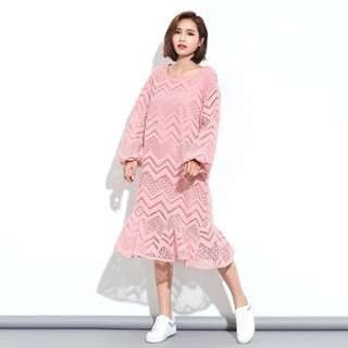 全新韓風甜美俏皮粉紅色幾何圖騰鏤空蕾絲刷毛蓬蓬袖荷葉邊魚尾洋裝連身裙