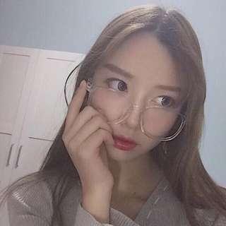 大框透明眼鏡👓韓國復古原宿文青潮流穿搭小臉顯瘦素顏百搭
