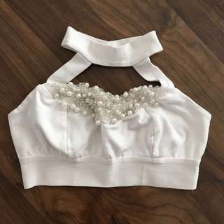 Bebe White Embellished Halter Crop Top