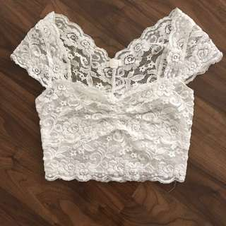 Garage White Lace Crop Top
