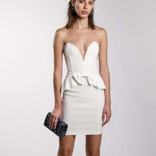White Strapless Peplum Dress