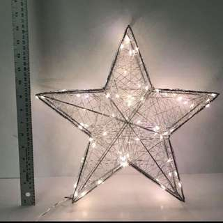 """HOLIDAY MEMORIES 16"""" PRELIT SILVER STAR WITH LED LIGHTS"""
