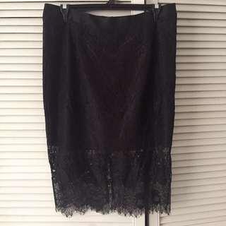 City Chic Plus Size Lace Black Skirt