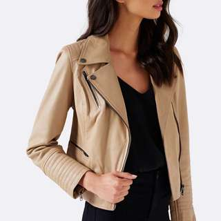 REDUCED *** Brand New Leather Jacket Forever New Beige