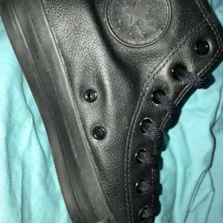 Size 8 Authentic Converse leather high tops  Worn once I in great condition  Box not included  Message for more information & pictures!