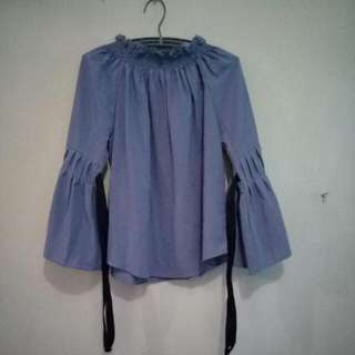 Grey Blouse With Ribbon