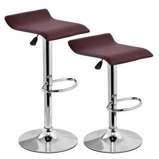 (New) 2 Burgundy Counter Height Adjustable Bar Stool - Backless