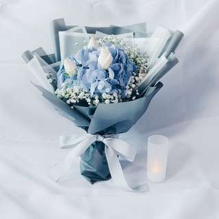 Pastel Hydrengea with White Roses & Baby breath