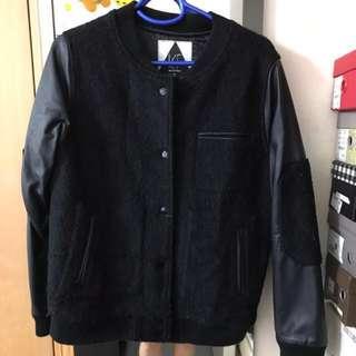Brand new black fleece biker jacket 全新絨及皮面棒球外套