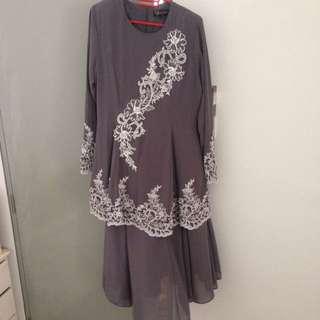baju kurung modern in grey
