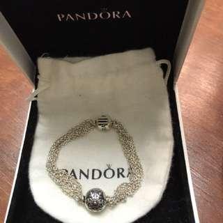 Pandora multi chain bracelet 16in + 1 charm