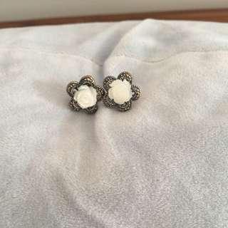 純銀礦石耳環