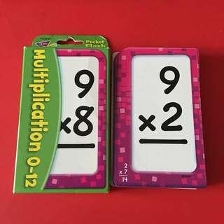 Pocket flash cards Multiplication 0-12