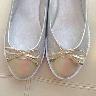Silver and gold shoes