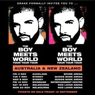 Drake Tickets - SYDNEY 7 NOV 2017 **160 EACH OR 2 FOR $300**