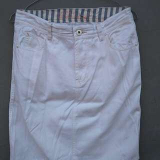 Jeans White Skirt