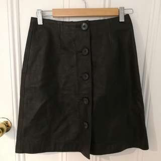 emporio armani leather vintage button up skirt