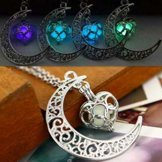 Glow in the Dark Crescent Moon Heart Necklace