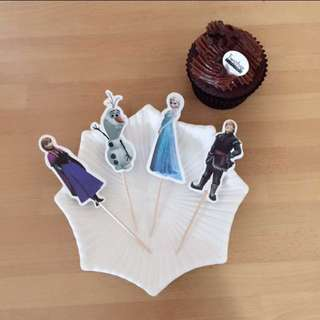 12pcs Disney Frozen Elsa Cupcake Toppers Muffin Cake Topper Decoration Baking Picks Birthday Party Olaf