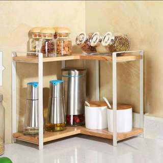 Kitchen 2 tiers Coner Wooden/Metal  rack