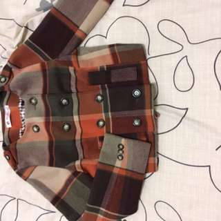 韓國購入棕色格子外套-350元