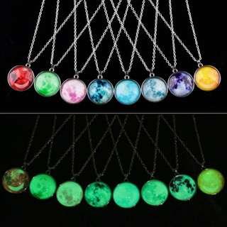 Glow in the dark moon  pendants