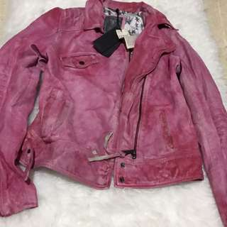 Authentic Guess by Marciano Pink Acid LadyBiker Jacket