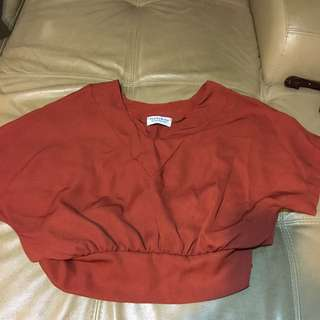 Short sleeve orange plain crop top