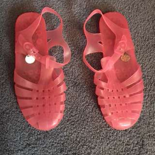 Pink Lipstik Jelly Sandals