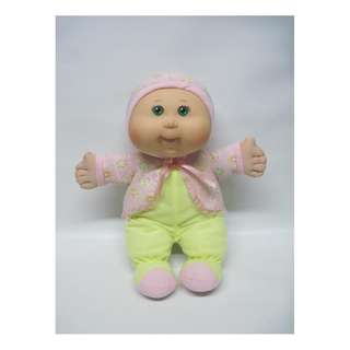 Cabbage Patch Kid Baby in Yellow & Pink Outfit Green Eyes Rosey Chubby Cheeks