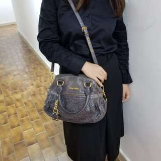 Miu miu gray leather handbag