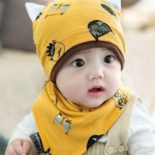 🚚 ~紅妝衣箱~(商品編號BH3929)貓咪棉帽+三角口水巾套裝 新生嬰兒 胎帽 睡覺帽 貓咪套頭帽 嬰兒帽 套裝