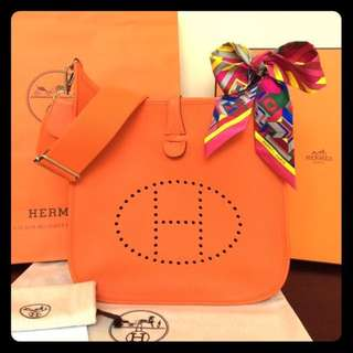 HERMES Evelyne- Orange- Medium/ 💯% Authentic >>> PLEASE READ Bio and Product details carefully