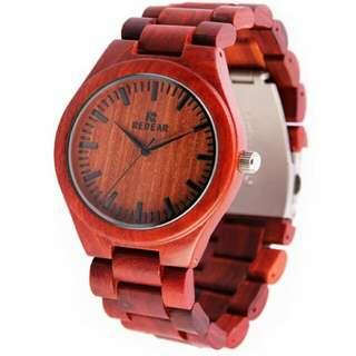 Jam kayu red wood merah
