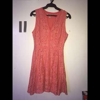 Peach Lace Dress UK Size 10 = US 6
