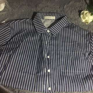 超靚💚Intique 藍色間條恤衫 shirt
