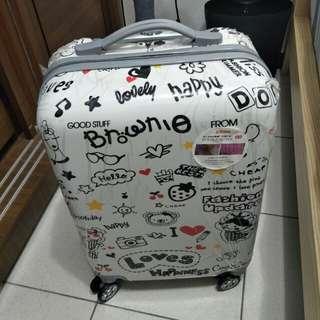 新品現貨 台灣莫里斯20吋PC+ABS四輪行李箱 歡樂塗鴉 樣子特殊很好認
