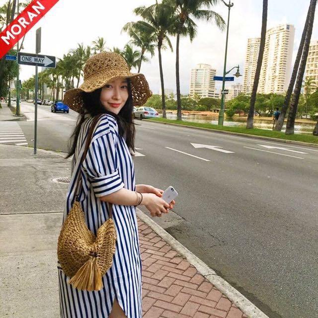 韓,降價5折》直條紋襯衫式洋裝