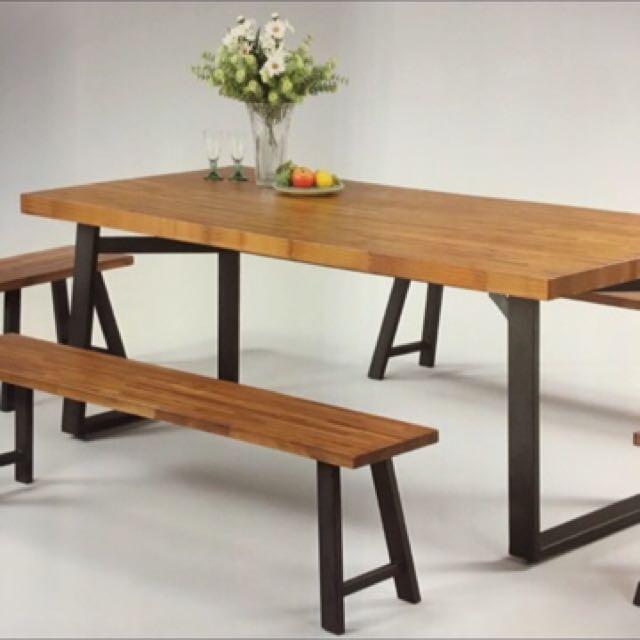 工業風柚木實木桌.椅凳