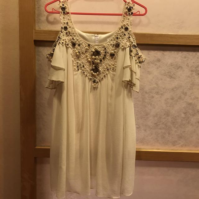 正韓珠珠白色洋裝