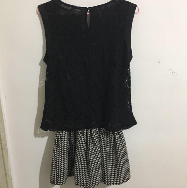 蕾絲千鳥紋連身洋裝