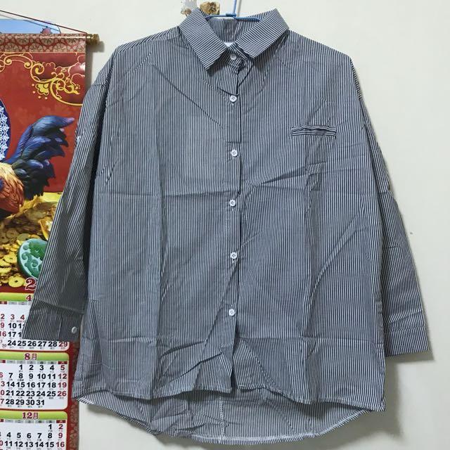 棉麻條紋襯衫