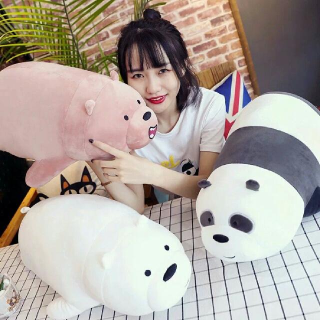 熊熊遇見你 咱們裸熊玩偶 超可愛睡覺玩偶熊熊玩偶